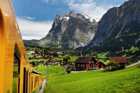 Grindelwald Village seen from Jungfrau Bahn, Switzerland