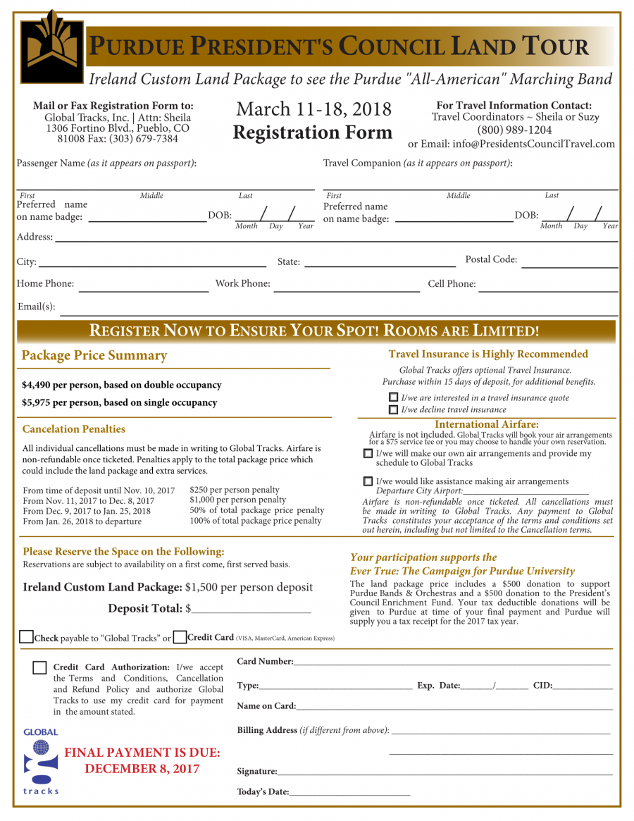Registration Form Ireland 2018